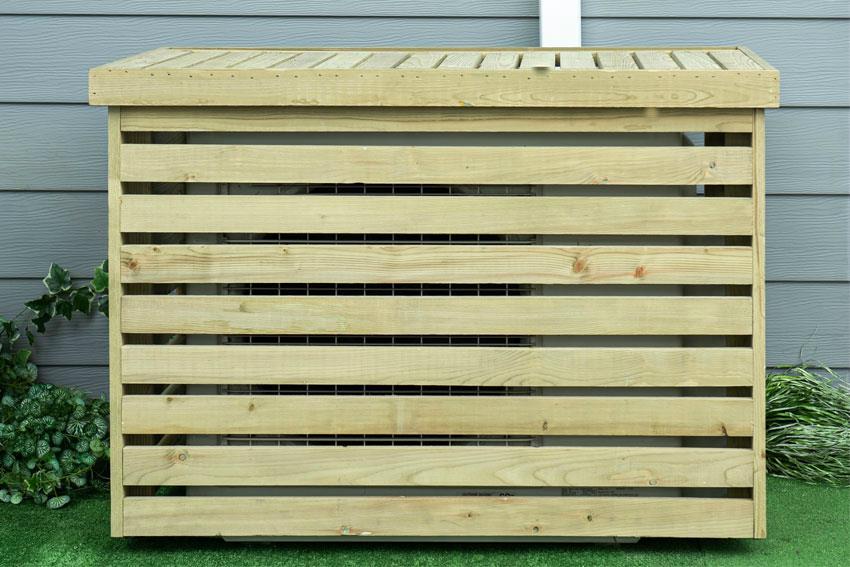 CACHE CLIMATISATION - CAGE DE PROTECTION UNITÉ EXTÉRIEURE EN BOIS - 950X500X720 - ALIXO - zoom